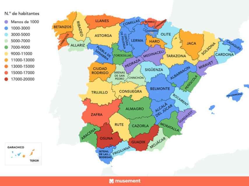 Los pueblos más populares de cada provincia.
