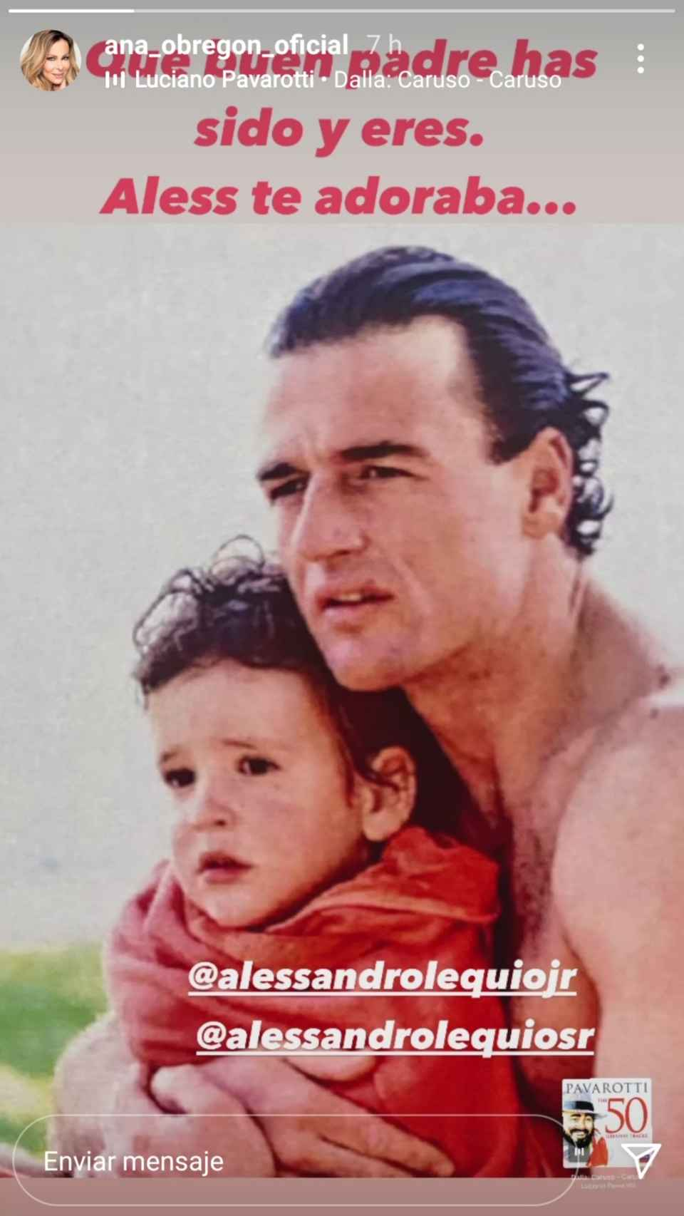 Esta es la imagen con la que Ana Obregón salía en defensa de Alessandro Lequio.