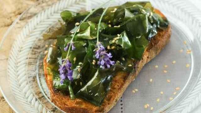 Ensalada de algas en tostada.