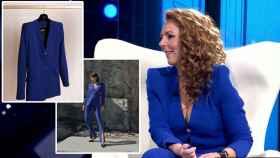 Rocío Carrasco con traje azul klein de Bleis Madrid.