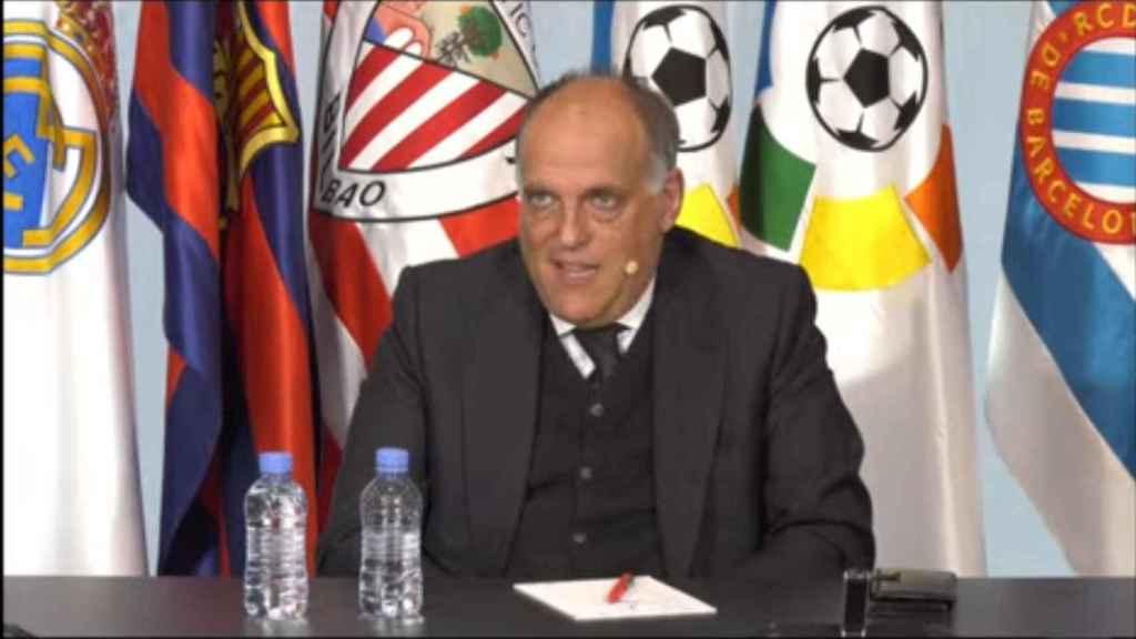 Javier Tebas, en la rueda de prensa de respuesta a la Superliga Europea