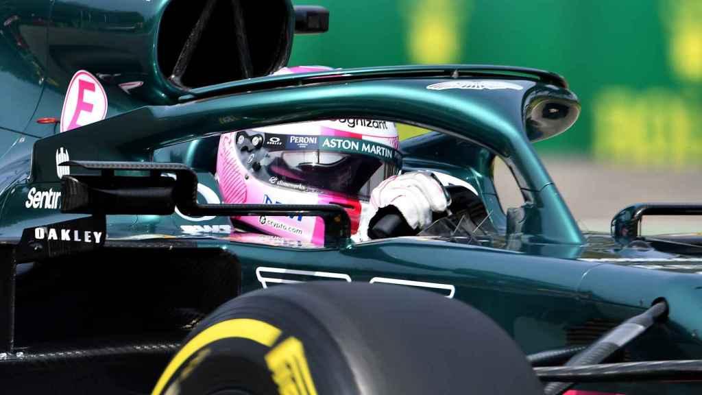 Vettel con su Aston Martin en Imola