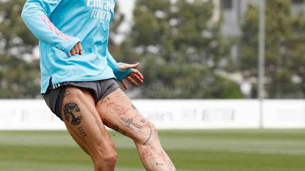 Sergio Ramos entrenando con el Real Madrid