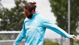 Sergio Ramos en un entrenamiento con el Real Madrid