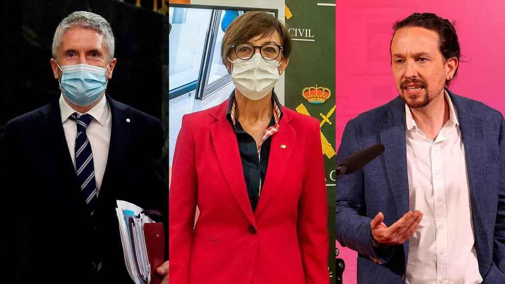 Fernando Grande-Marlaska, María Gámez y Pablo Iglesias.
