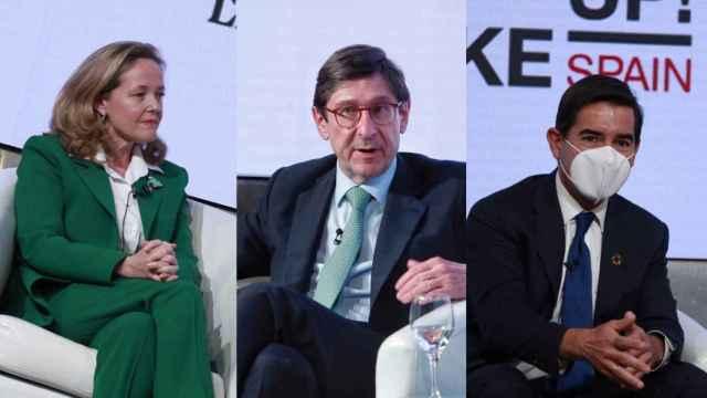 La vicepresidenta Nadia Calviño, José Ignacio Goirigolzarri (CaixaBank) y Carlos Torres (BBVA).
