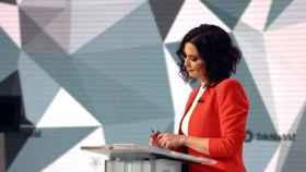 Isabel Díaz Ayuso, en el debate del miércoles en Telemadrid. EFE