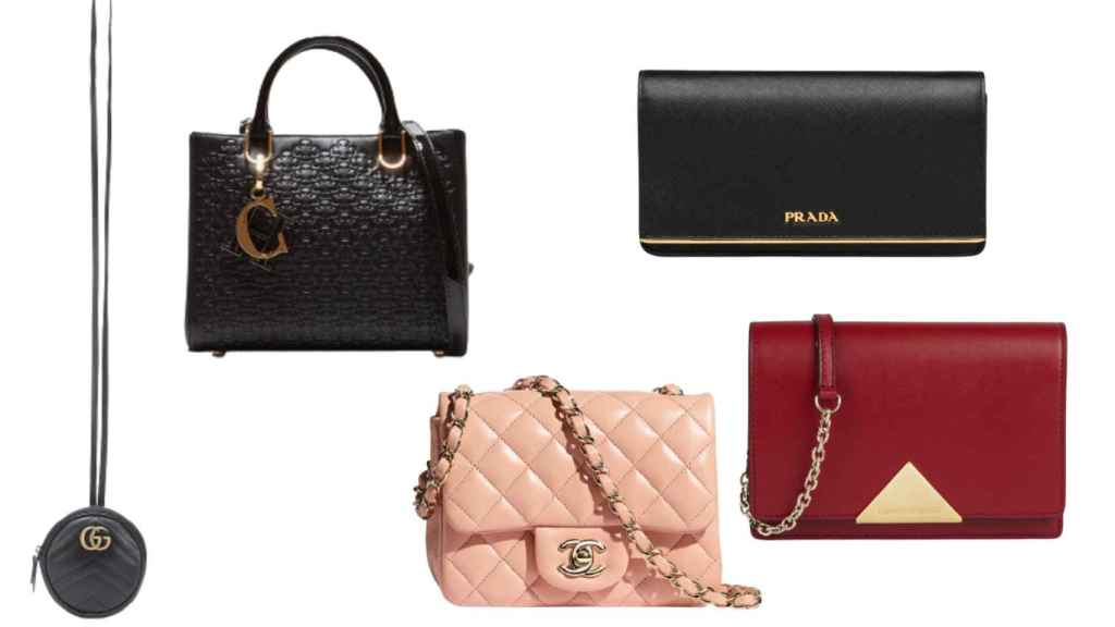 Mini bags from various luxury brands in a JALEOS setup.