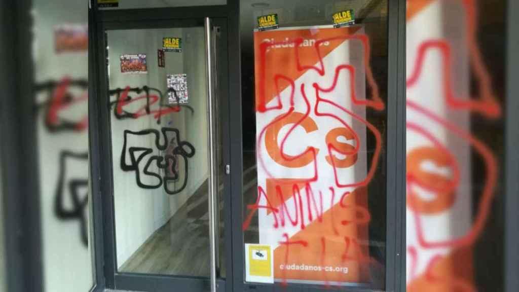 Ataque a la sede de Ciudadanos en Pamplona (Navarra).