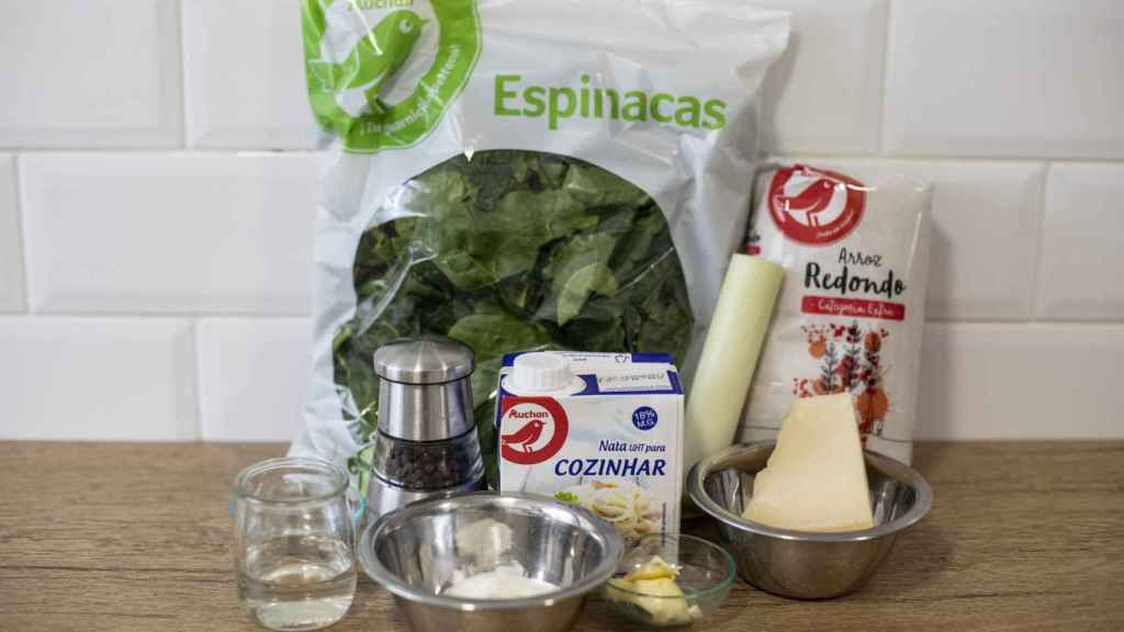 Los ingredientes que ha usado Bárbara Buenache para elaborar su risotto con espinacas y parmigiano.