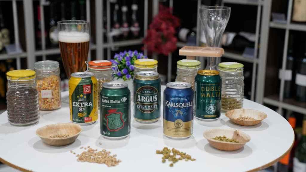 Las cinco cervezas con extra de malta de los supermercados testadas en la cata.
