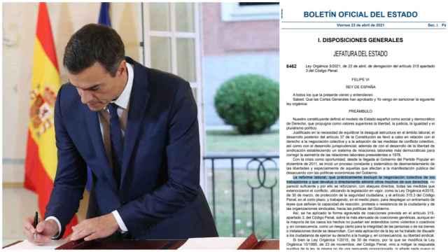 Pedro Sánchez y el BOE que arremete contra el PP al eliminar el delito de los piquetes coactivos.