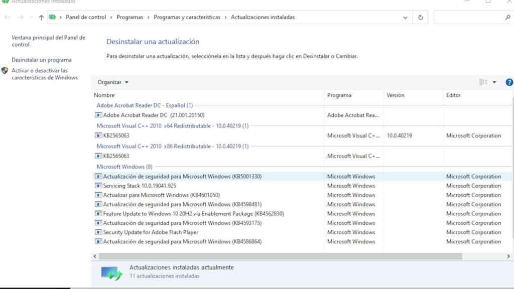 Actualización de Windows 10 que está provocando los fallos