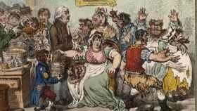 Caricatura que ilustra la oposición a la vacunación en la que aparece Edward Jenner.