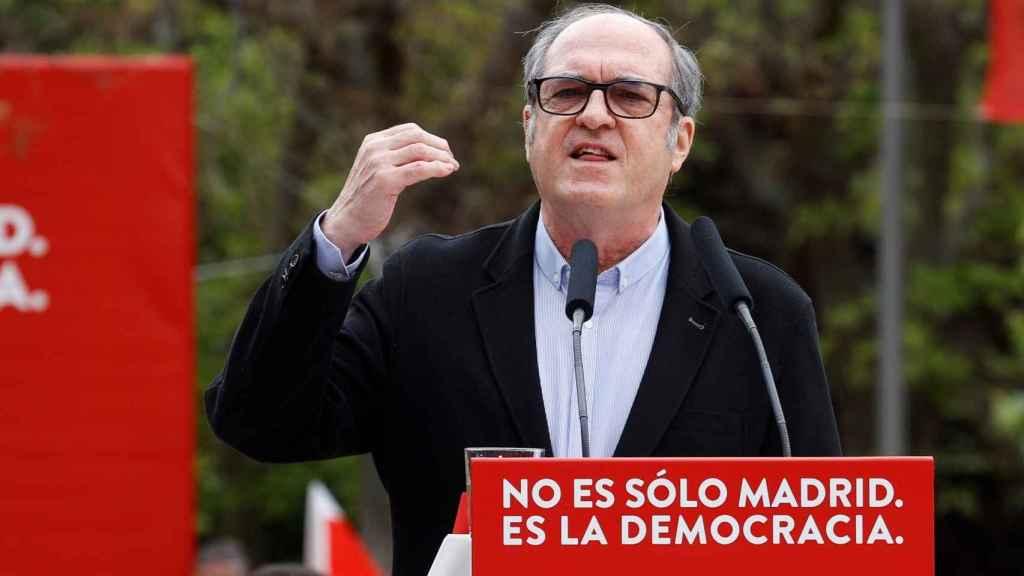 Ángel Gabilondo durante el mitin celebrado este sábado en Vallecas.