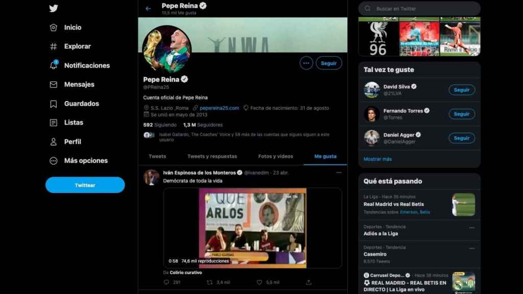 Pepe Reina y su 'me gusta' a Vox contra Pablo Iglesias