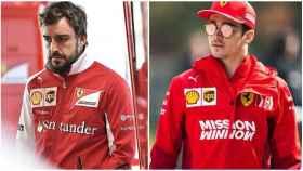 Fernando Alonso y Leclerc, en Ferrari