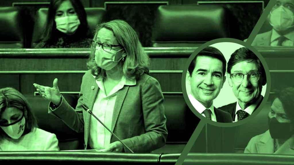 Nadia Calviño, Carlos Torres Vila y José Ignacio Goirigolzarri.