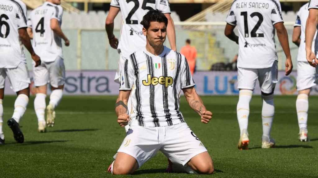Álvaro Morata celebra un gol con la Juventus