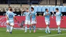 El Celta celebra el gol de Aspas ante el Osasuna