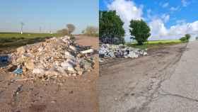 A la izquierda, el montón de escombros junto a la carretera; a la derecha, el mismo montón unos metros más retirado de la vía