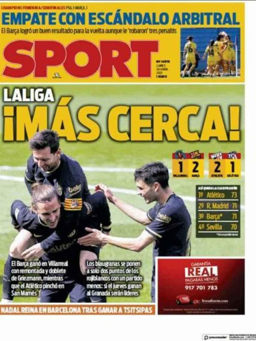 La portada del diario Sport (26/04/2021)