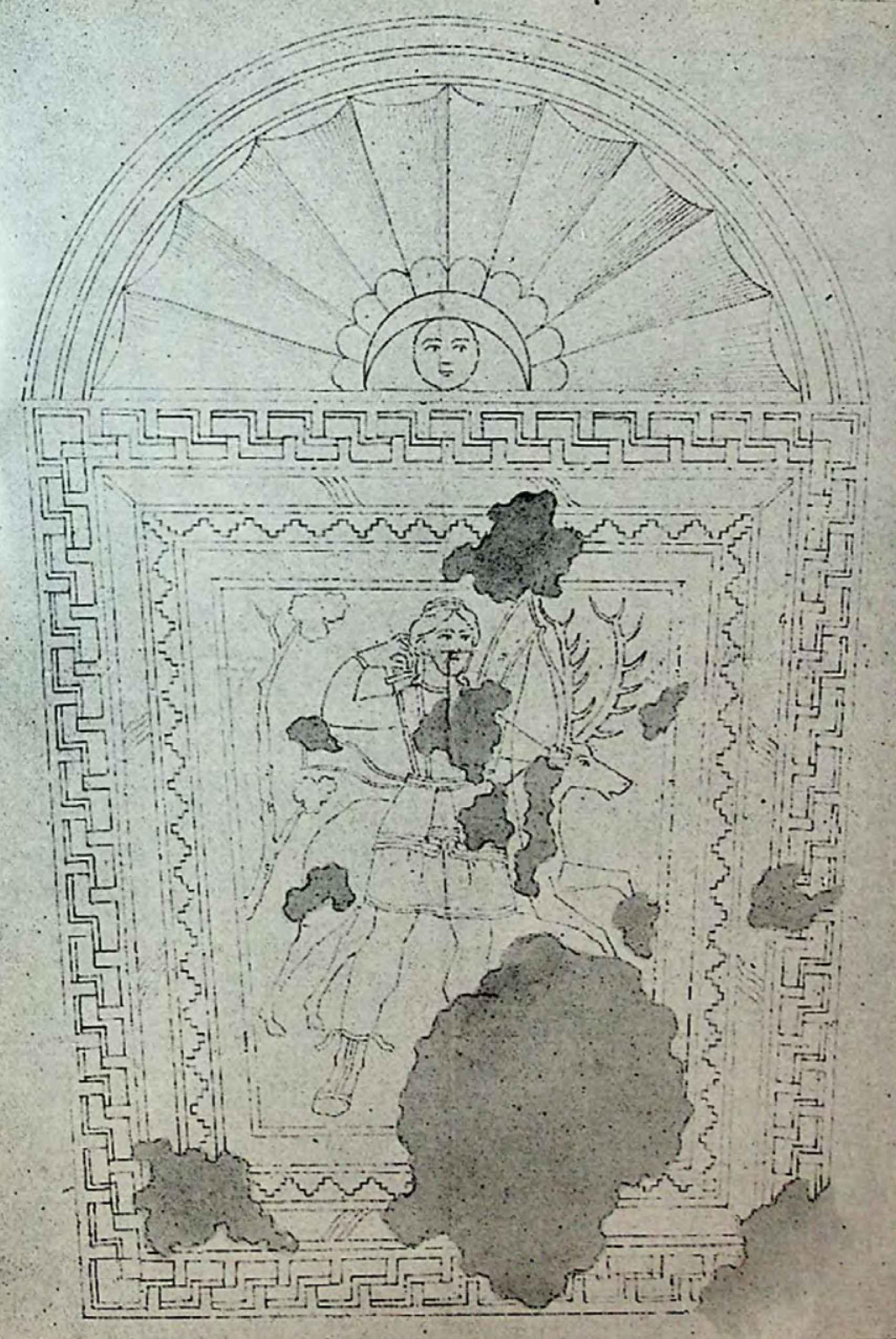 Dibujo del mosaico romano desaparecido de Diana (1862).