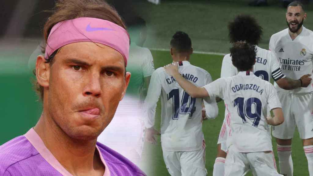 Rafa Nadal y los jugadores del Real Madrid celebrando un gol, en un fotomontaje