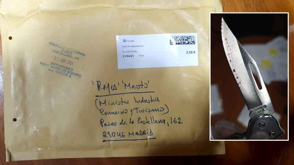 El sobre que contenía una navaja ensangrentada, remitido al Ministerio de Industria a nombre de Reyes Maroto.