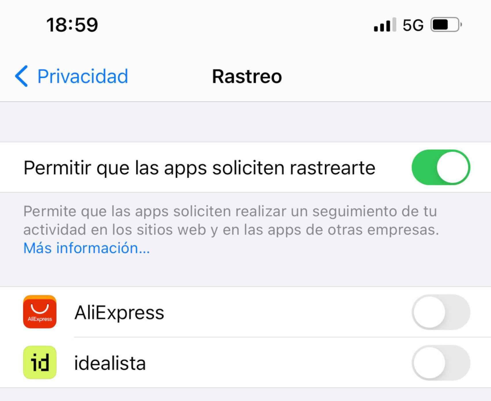 Nueva opción para bloquear el rastreo en iOS