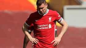 James Milner, durante un partido de la Premier League con el Liverpool