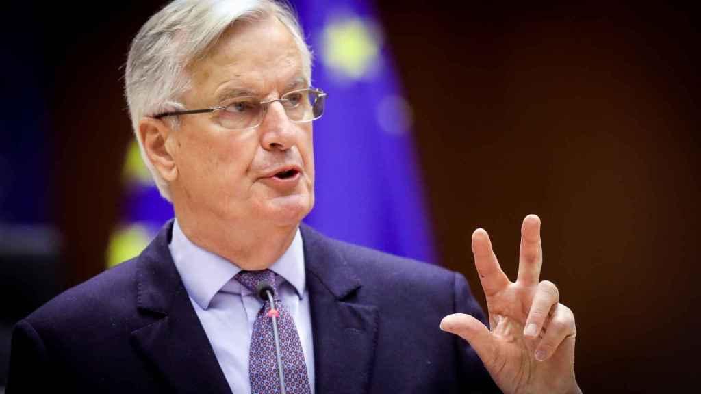 Michel Barnier, durante su último debate en la Eurocámara sobre el 'brexit'