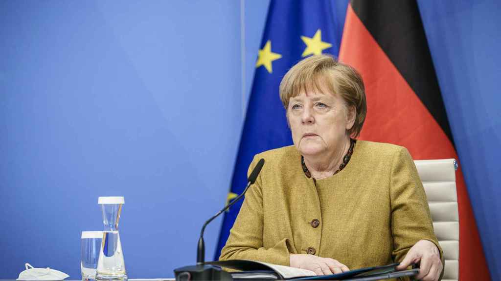 Angela Merkel, durante una videocumbre de la UE en enero