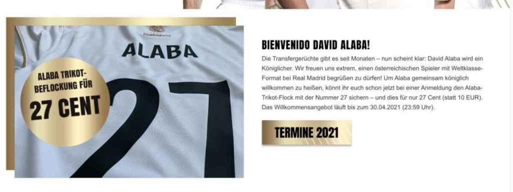 La página web desde la que se pueden comprar las camisetas de Alaba y el Real Madrid