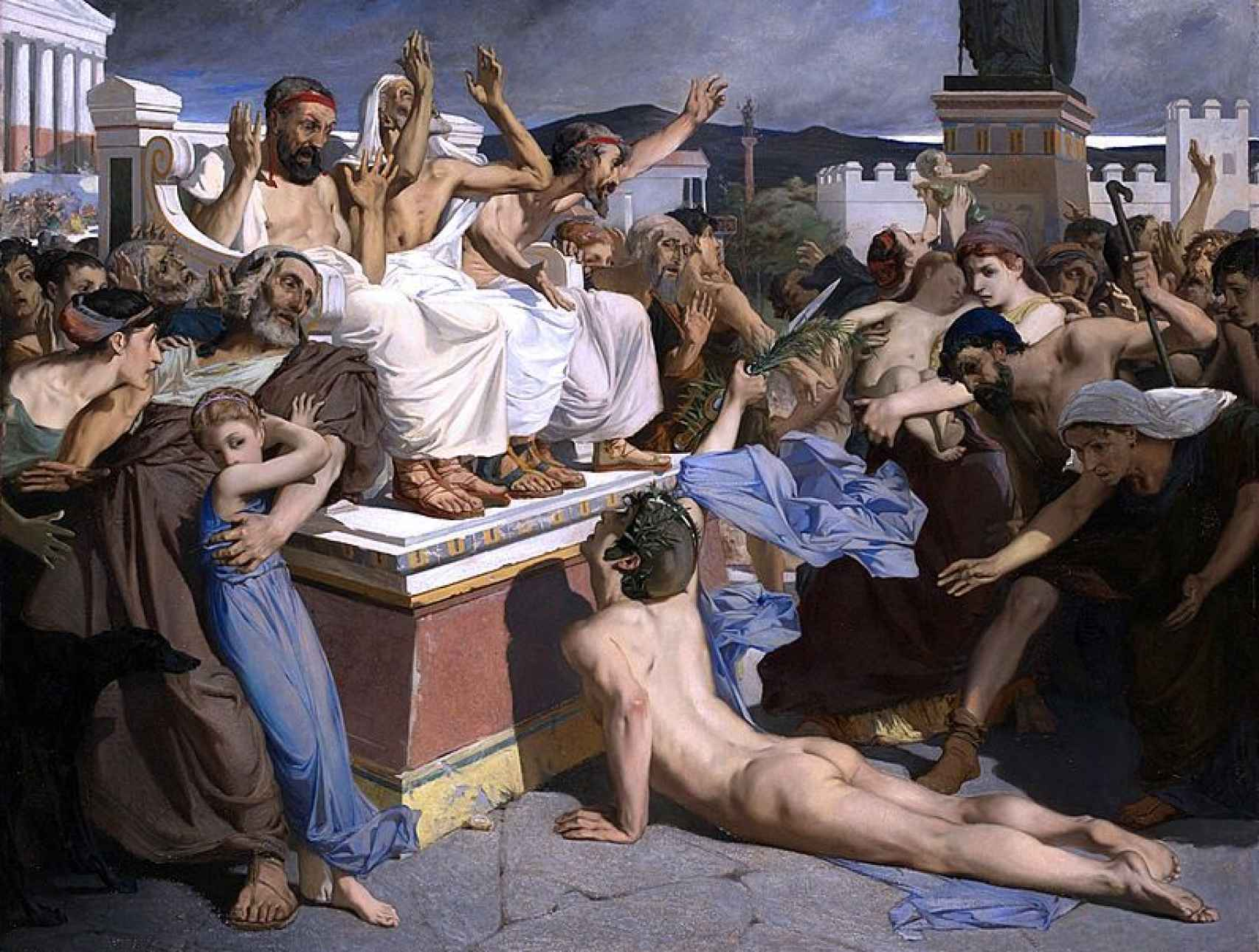 Filípides anunciando la victoria ateniense en la batalla de Maratón. Un lienzo de Luc-Olivier Merson.