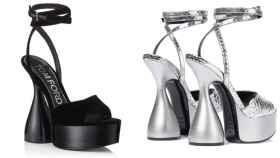 Las 'disco heels' de Tom Ford en negro y plata.