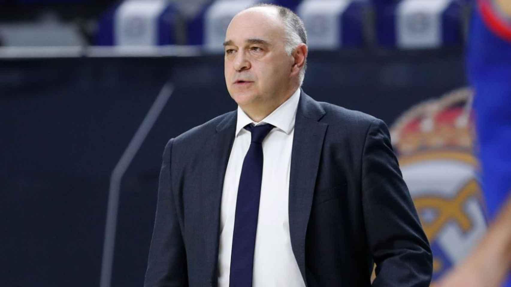 Pablo Laso, en un partido del Real Madrid de Baloncesto