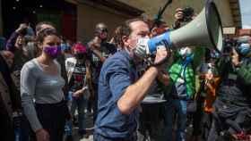 El candidato de Unidas Podemos, Pablo Iglesias se dirige al público asistente a un acto del partido en Getafe.