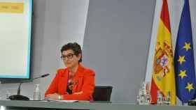 Arancha González Laya, ministra de Asuntos Exteriores, en la sala de prensa de Moncloa.