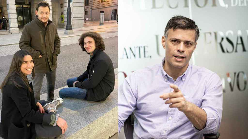 Paula Terradas, Álvaro Vara e Ignacio Dancausa, promotores de Libertad Sin Ira - UCM, junto a Leopoldo López.