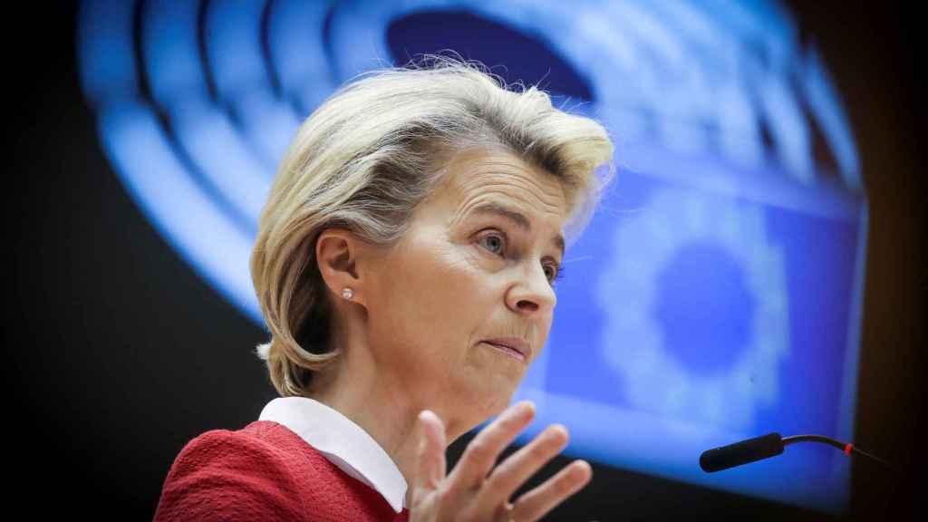 La presidenta de la Comisión, Ursula von der Leyen, durante su discurso este martes en la Eurocámara