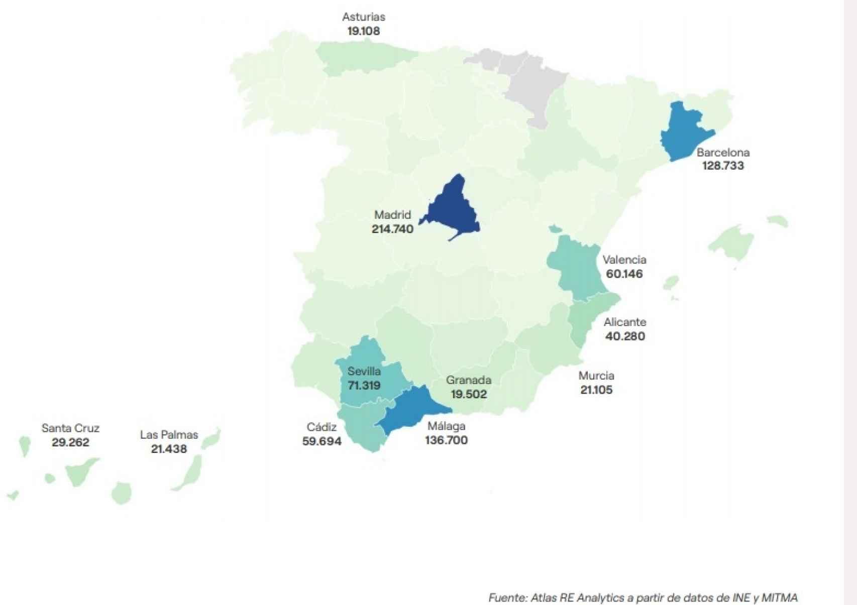 Necesidad de viviendas en alquiler asequible por provincias