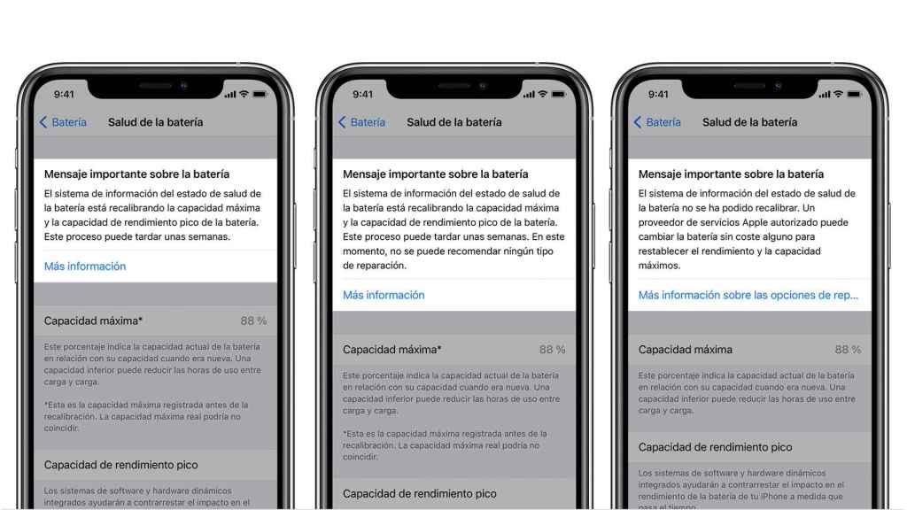 Mensajes mostrados en el iPhone