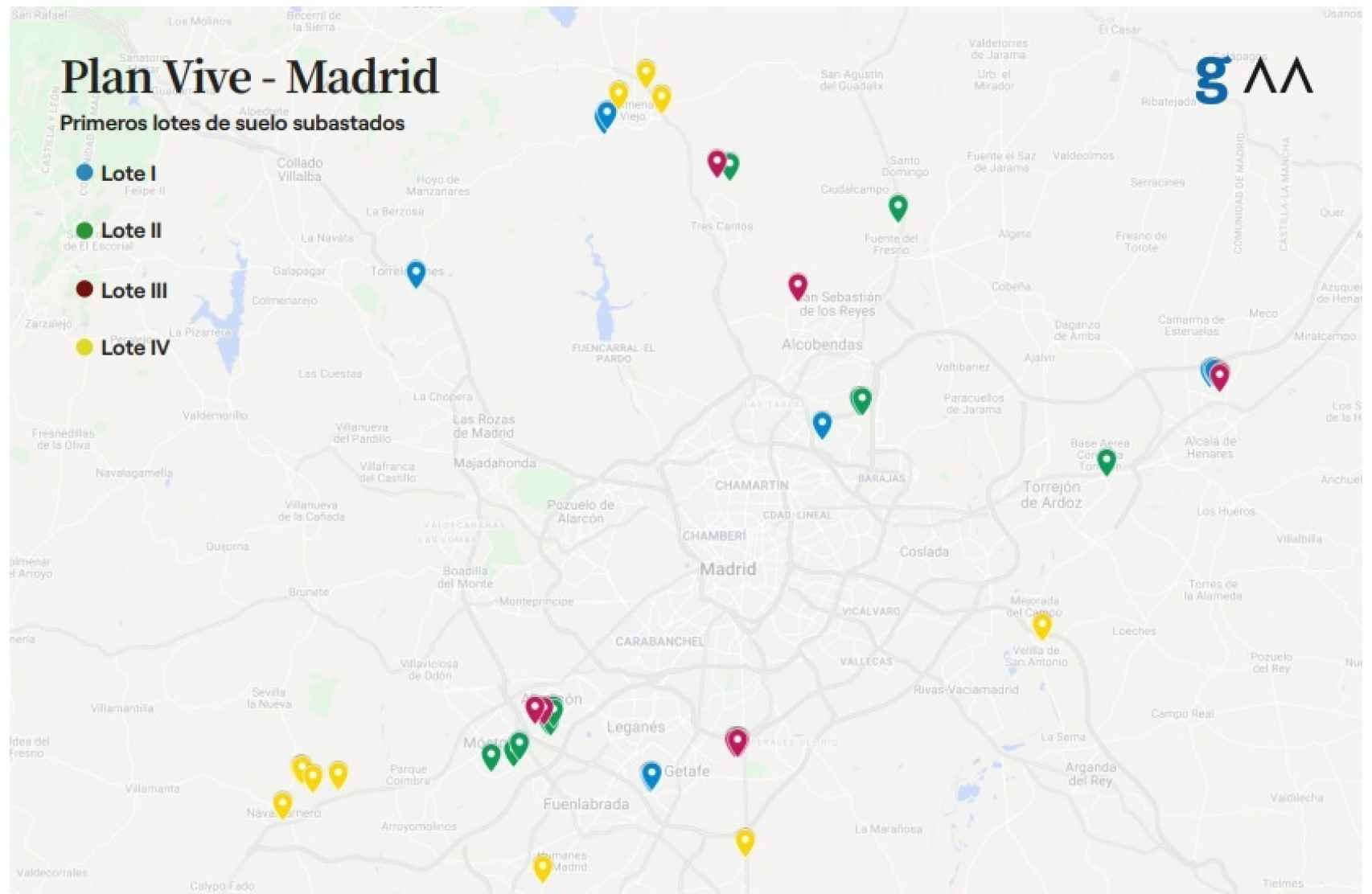 Mapa de los primeros lotes de suelo subastados dentro del Plan Vive de la Comunidad de Madrid.