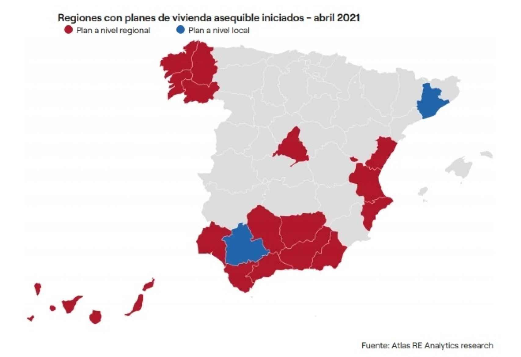 Regiones con planes de vivienda asequible iniciados en abril de 2021.