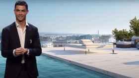 Cristiano Ronaldo y la piscina de su nuevo ático en un montaje de JALEOS.