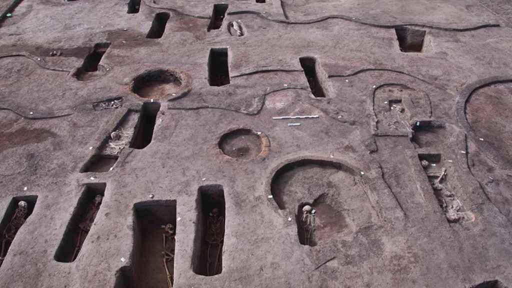 Vista aérea de la necrópolis hallada en Dakahlia.