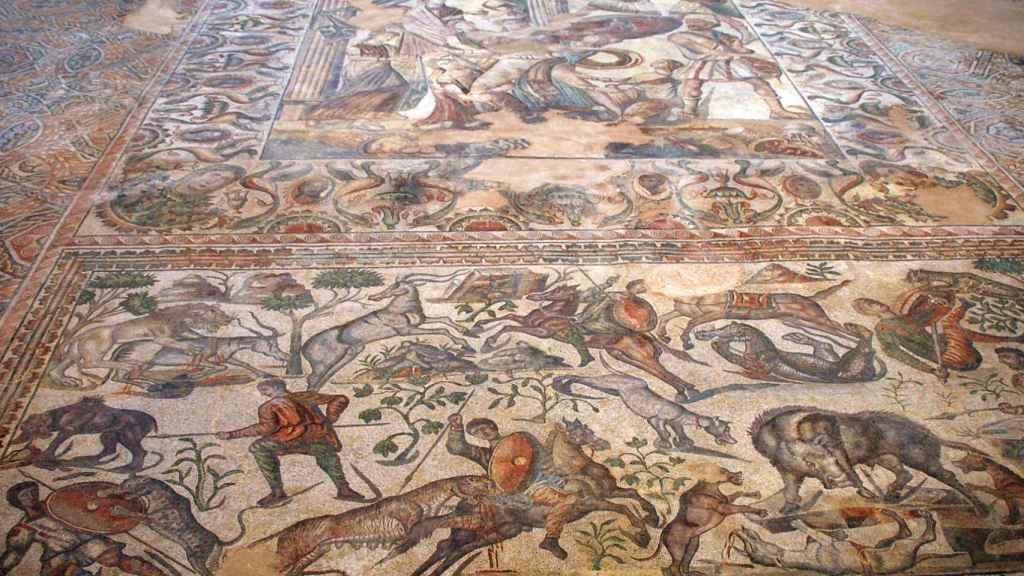 Mosaico romano figurativo en la villa romana de La Olmeda, Pedrosa de la Vega, también en Palencia.
