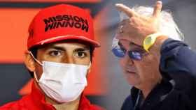Carlos Sainz Jr. y Flavio Briatore, en un fotomontaje