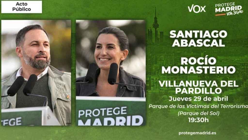 Vox anuncia un mitin en Villanueva del Pardillo, zona confinada.
